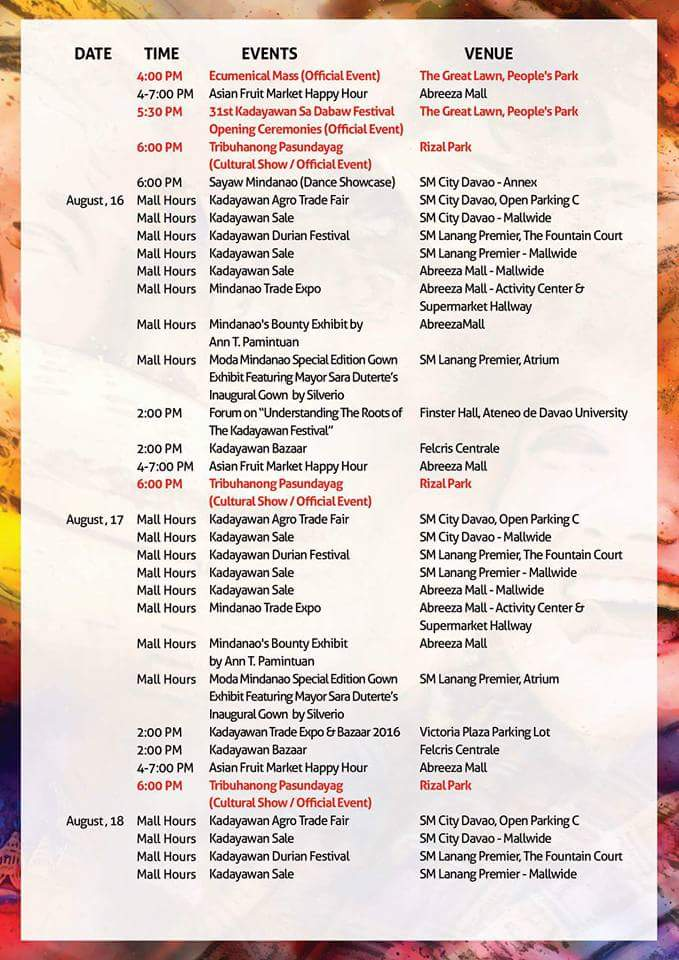 kadayawan 2016 schedule of events 2